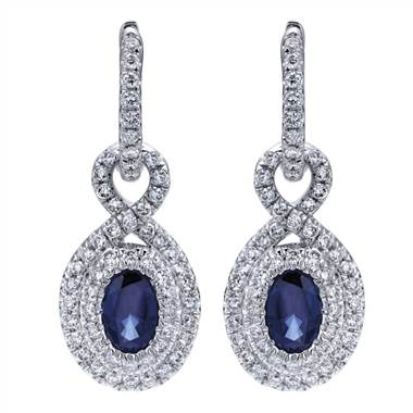 Double Halo Sapphire and Diamond Earrings set in 14KT White Gold 2.74ct UNEG12232W44SA-IGCD at I.D. Jewelry