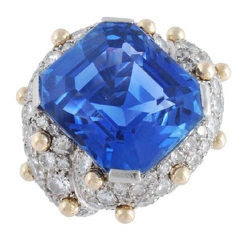 30-carat sapphire and diamond ring by Jean Schlumberger • Image: Dreweatts & Bloomsbury