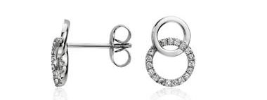 Duet Diamond Circle Earrings in 14k White Gold (1/10 ct. tw.) at Blue Nile