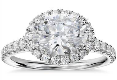 Blue Nile Studio East-West Oval Halo Diamond Engagement Ring in Platinum at Blue Nile