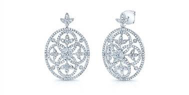 Edwardian Vintage Diamond Drop Earrings - in 14kt White Gold - (1.62 CTW) at Ritani
