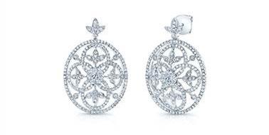 Edwardian Vintage Diamond Drop Earrings - in 14kt White Gold - (1.62 CTW) at Ritani