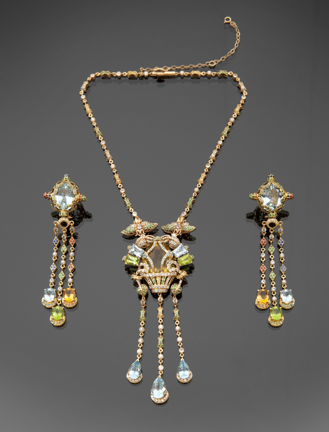 Elizabeth Taylor Mult-Gem Necklace and Earrings by Zorab