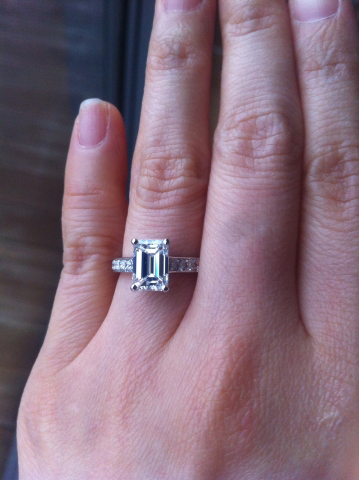 Emerald cut diamond engagement ring - image by merrilymerrily