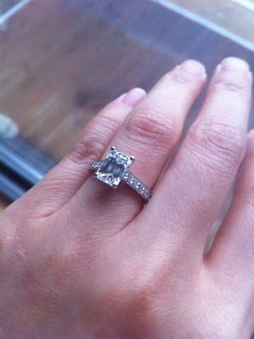 Emerald cut diamond engagement ring - image by merrilymerrily