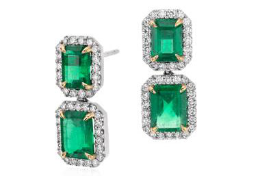 Emerald-Cut Emerald Diamond Pav Drop Earrings in 18k White Gold (4.77 ct. center) by Blue Nile