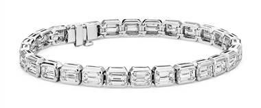 Emerald-Cut Diamond Eternity Line Bracelet in Platinum (11.25 ct. tw.) by Blue Nile