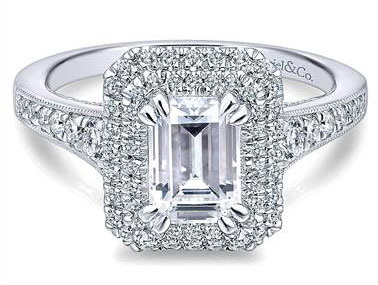 Gabriel & Co. 14k White Gold Diamond Double Halo Engagement Ring at Gabriel & Co.