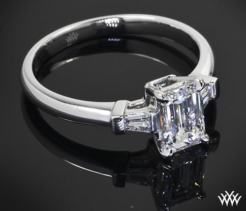 Custom 3 Stone Emerald Cut Diamond Engagement Ring by Whiteflash