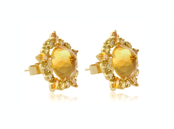 18k gold round 'Ruffled' earrings with citrines and sapphires by Emily & Ashley