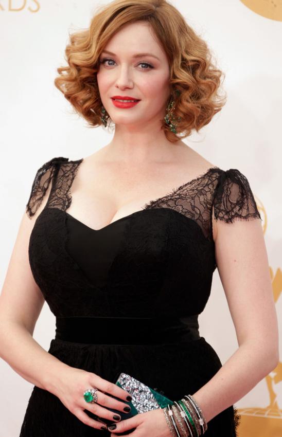 Emmy nominee Christina Hendricks • Emerald jewelry by Lorraine Schwartz