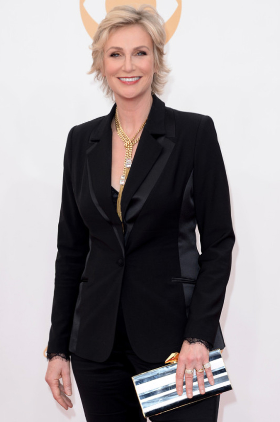 Emmy nominee Jane Lynch • Badgley Mischka tuxedo and gold jewelry