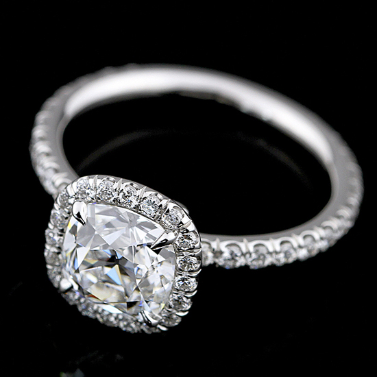 Classic micropavé halo diamond ring by Engagement Rings Direct