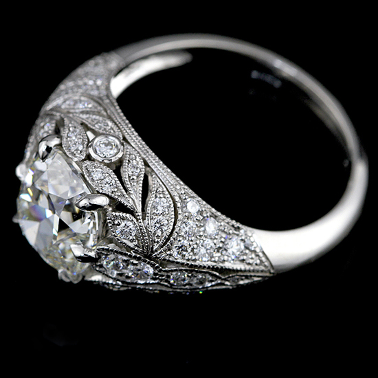 Vintage-style platinum diamond engagement ring by Engagement Rings Direct