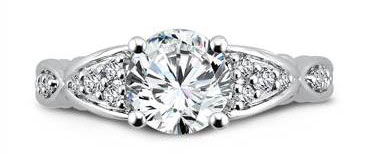 CR548W - Engagement Ring With Side Stones in 14K White Gold with Platinum Head (0.25ct. tw.) at I.D. Jewelry