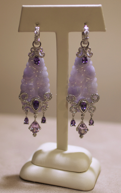 Erica Courtney: Carved jadeite, purple scapolite, lavender spinel, and diamond earrings
