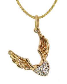 Diamond winged heart charm by Erica Molinari