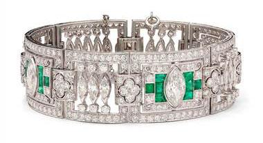 Estate Art Deco Diamond and Emerald Bracelet in Platinum (20 ct. tw.) by Blue Nile