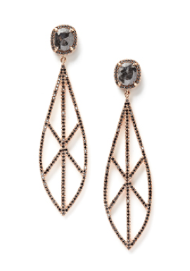 Eva Fehren • The Spear Earrings in 18k rose gold with grey and black diamonds