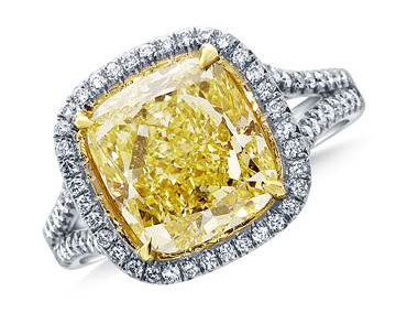 Fancy Yellow Cushion Cut Diamond Split Shank Halo Ring in Platinum