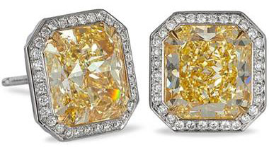 Fancy Yellow Radiant Cut Diamond Halo Stud Earrings - in Platinum - (7.24 CTW) by Ritani