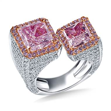 Very Light Pink Radiant Diamond Floating Between the Finger Ring in 18K Two Tone at B2C Jewels