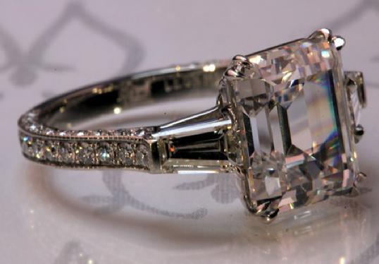 3.22-carat emerald-cut diamond engagement ring