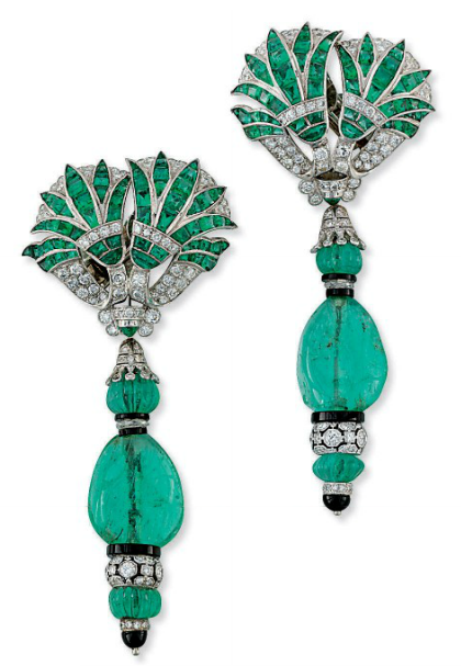 A pair of emerald, diamond, and onyx earrings by Fred Leighton