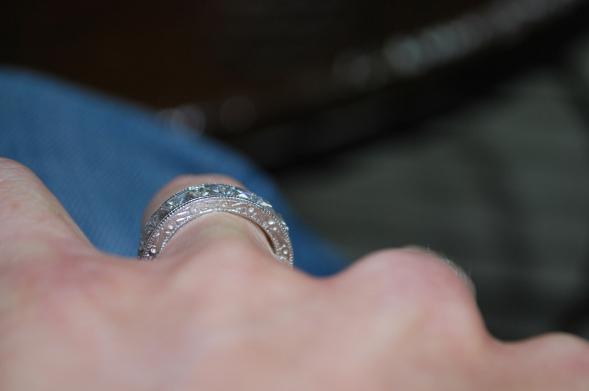French-cut diamond wedding band