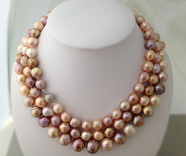 Colorful Freshwater 'Ripple' Pearl Necklaces