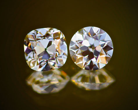 August Vintage Cushion Cut and Round Diamonds from Good Old Gold
