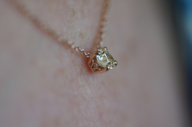 August Vintage Cushion Diamond Pendant from Good Old Gold