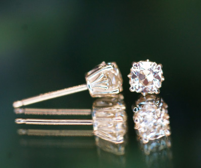 August Vintage Cushion diamond studs from Good Old Gold
