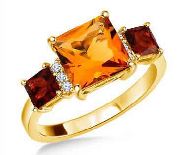 14K Yellow Gold Genuine Citrine and Diamond Ring