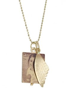 Photo pendant with wing charm by Ginette NY