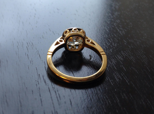Bezel Diamond Engagement Ring in Yellow Gold