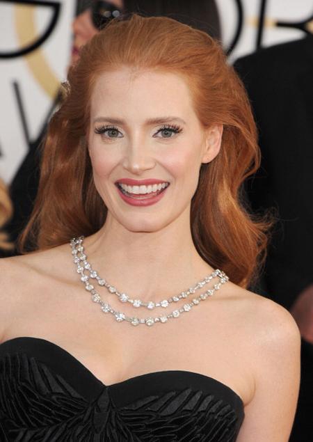 2014 Golden Globes - Jessica Chastain • Bulgari Jewelry