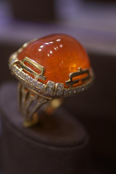Goshwara 110-carat spessartite garnet ring
