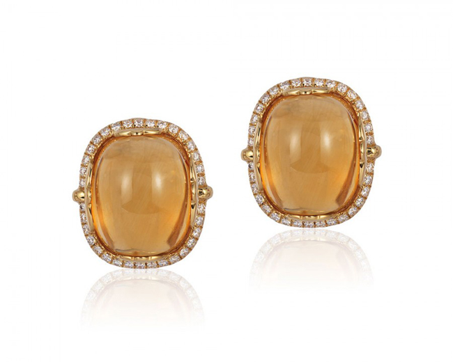 'Rock 'n Roll' citrine cushion cabochon earrings by Goshwara
