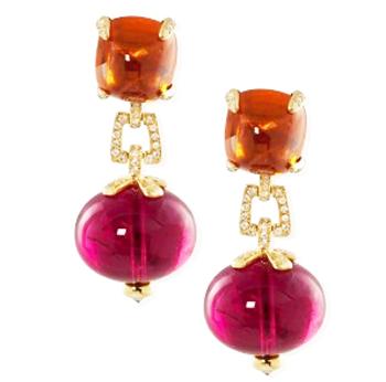 Mandarin Garnet and rubellite G-One Earrings by Goshwara