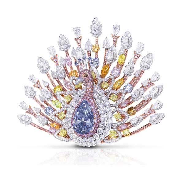 Graff Peacock with 120.81 carats of colorless and fancy-colored diamonds