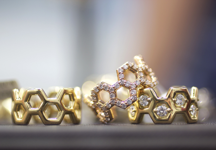 Gumuchian hexagonal diamond bands • Image Erika Winters