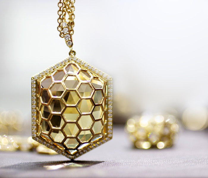 Gumuchian hexagonal 77.43-carat citrine necklace • Image Erika Winters