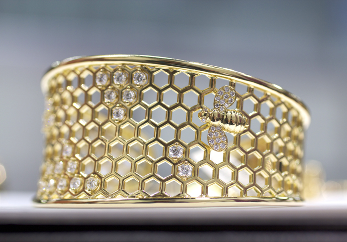 Gumuchian diamond bee cuff in 18k gold • Image Erika Winters