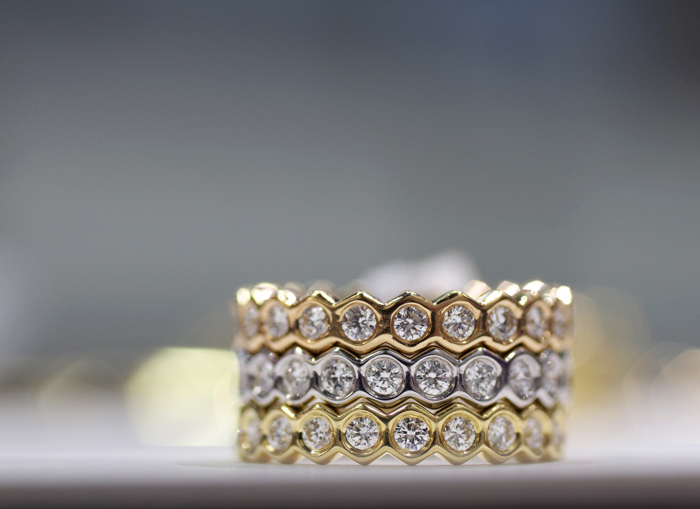 Gumuchian stackable diamond bands • Image Erika Winters