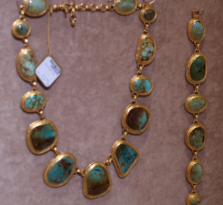 24k gold turquoise bracelet and necklace Gurhan Couture 2011