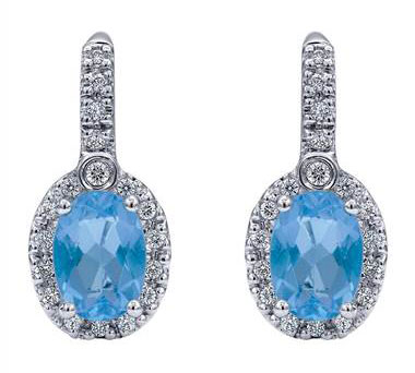 Halo Swiss Blue Topaz  and Diamond  Leverback Earrings set in 14KT White Gold 2.09ct UNEG9515W45BT-IGCD