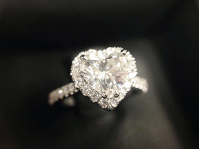 Heart-shaped halo diamond engagement ring shared by doubledouble