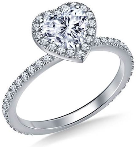 Heart Halo Engagement Ring in 18K White Gold by B2C Jewels