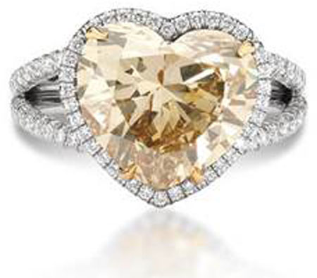 Fancy Yellow Heart-Shaped Diamond Ring in 18K White Gold by Ritani